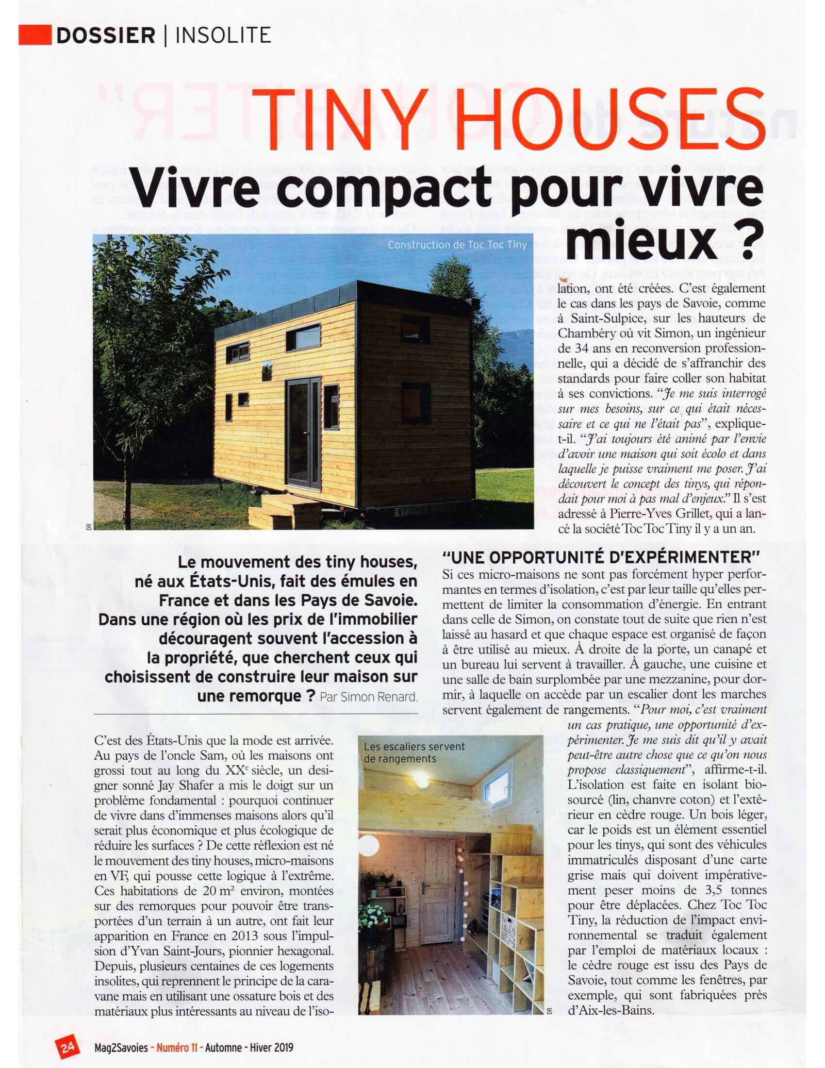 article de journal présentant le constructeur de tiny house Toc Toc Tiny avec une photo