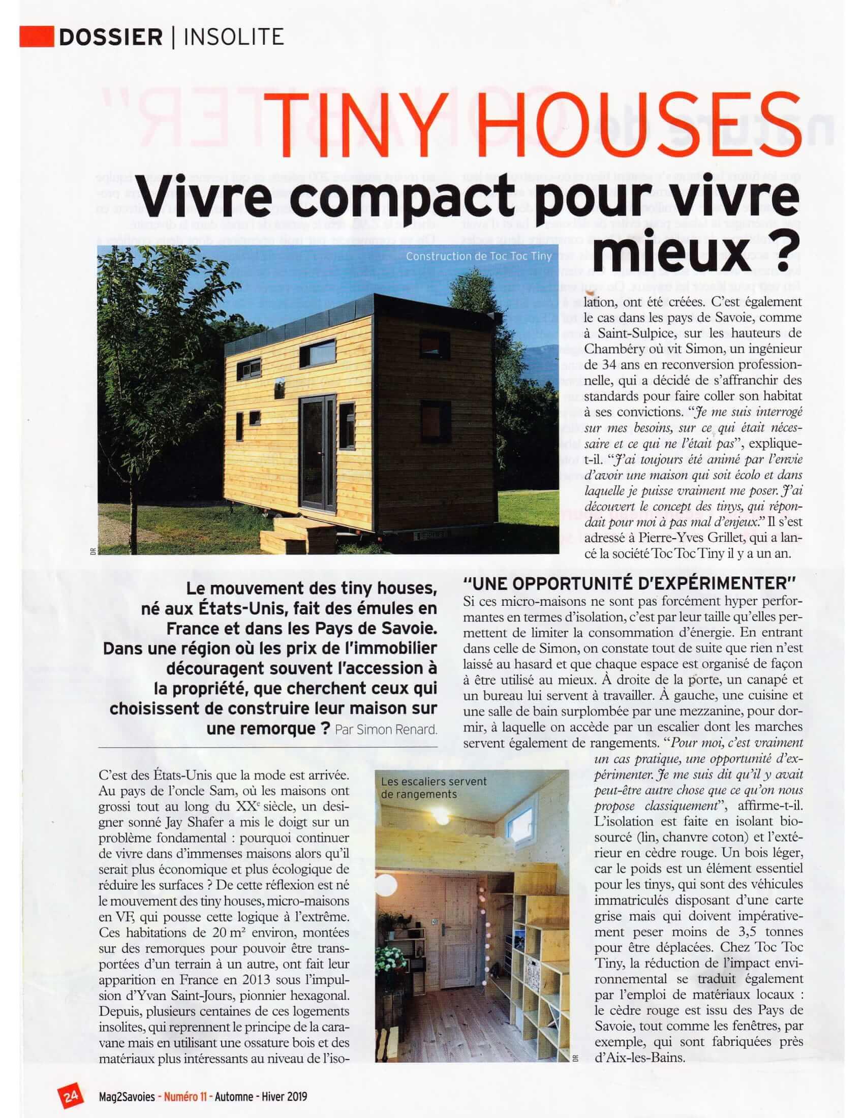 article de journal présentant le constructeur de tiny house Toc Toc Tiny avec une photo